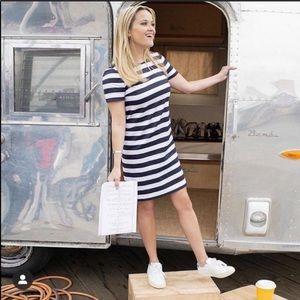 Draper James striped shift mini dress navy white